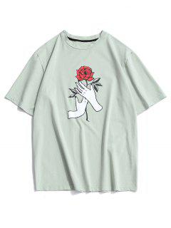 ZAFUL Hand Rose Print Basic T Shirt - Dark Sea Green 2xl