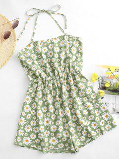 ZAFUL Flower Halter Backless Wide Leg Romper - Pistachio Green S