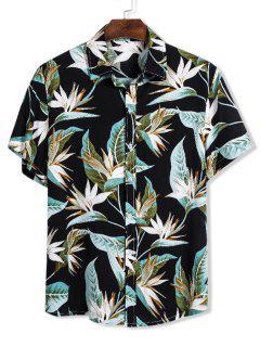 Flower Print Button Up Slim Hawaii Shirt - Black L
