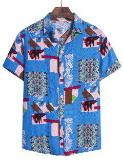 Irregular Geo Print Ethnic Button Up Short Sleeve Shirt - Multi-b L