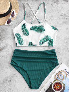 ZAFUL Ribbed Criss Cross Leaves Print Tankini Swimwear - Deep Green L