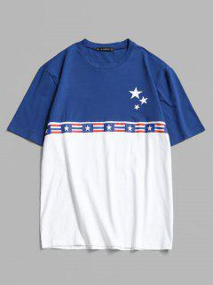 Amerikanische Flagge Farbblock T-Shirt - Weiß Xl