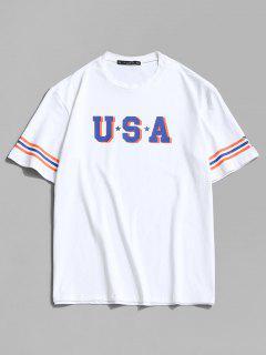 USA Star And Striped Print Basic T-shirt - White 2xl