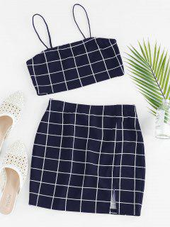 ZAFUL Grid Slit Cami Mini Skirt Set - Deep Blue S