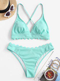 ZAFUL Scalloped Crisscross Textured Bikini Swimwear - Celeste L