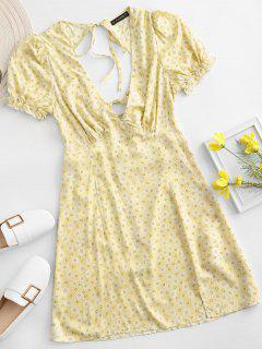 ZAFUL Ditsy Floral Low Cut Tie Cutout Slit Dress - Yellow Xl
