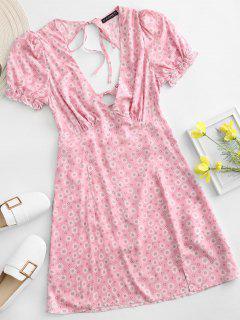 ZAFUL Ditsy Floral Low Cut Tie Cutout Slit Dress - Light Pink S