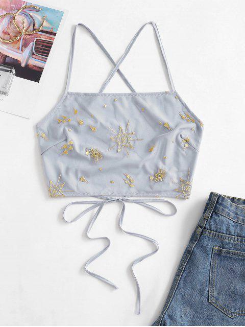 Haut à Bretelle Croisé Superposé Brodé en Maille - Bleu-gris XL Mobile