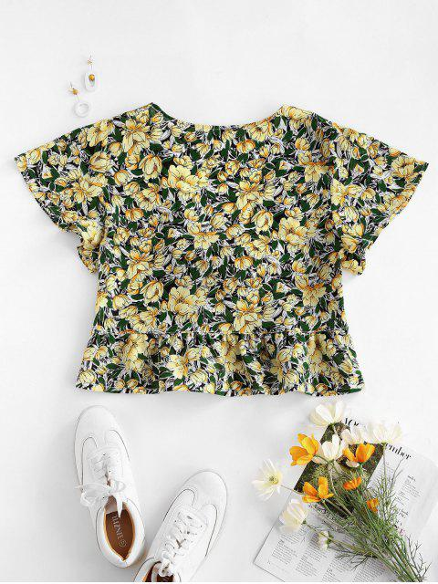 ladies Flower Knotted Flounce Flutter Sleeve Blouse - YELLOW S Mobile