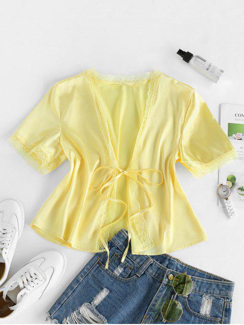 fashion ZAFUL Eyelash Lace Front Tie Satin Blouse - CORN YELLOW M Mobile