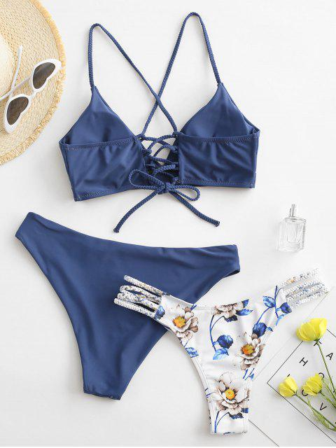 unique ZAFUL Flower Braided Lace Up Three Pieces Bikini Swimsuit - BLUE KOI M Mobile