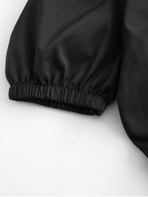 women Gathered Front Smocked Waist Sweetheart Top - BLACK L Mobile