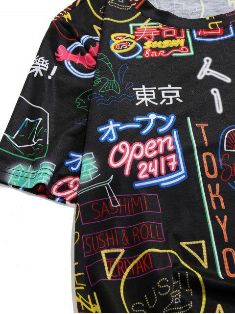 ZAFUL T-shirt de Tóquio Gráfico Oriental - Preto L Mobile