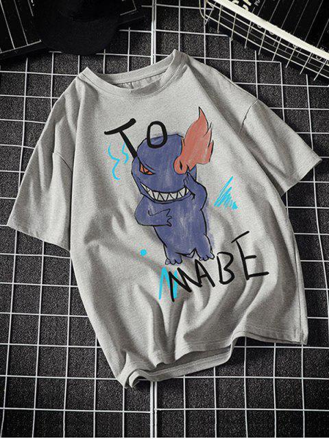 Camiseta Básica con Estampado de Letras y Fuego - Gris Claro M Mobile