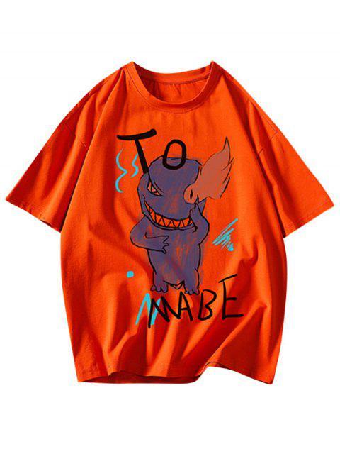 Camiseta Básica con Estampado de Letras y Fuego - Mango Naranja M Mobile