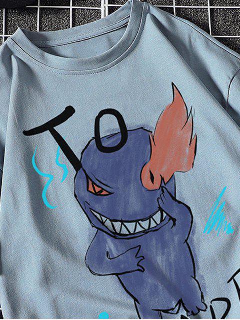 Camiseta Básica con Estampado de Letras y Fuego - Azul Denim M Mobile