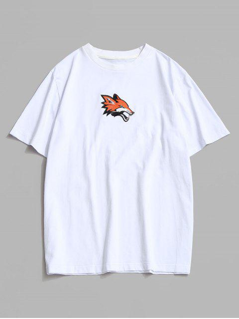 Animal Embroidery Basic T Shirt - أبيض 2XL Mobile