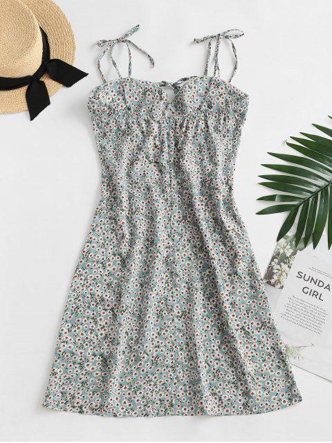 hot Ditsy Print Tie Shoulder Bowknot Mini Dress - LIGHT GREEN S Mobile