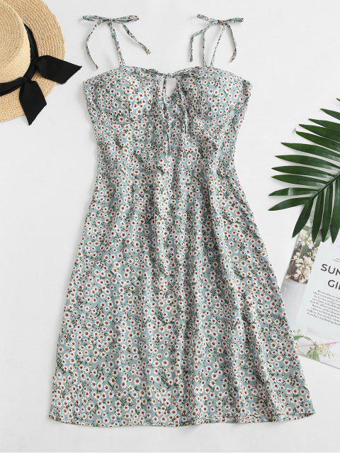 shop Ditsy Print Tie Shoulder Bowknot Mini Dress - LIGHT GREEN XL Mobile