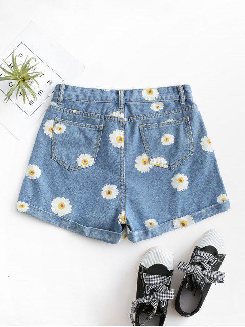 outfit Cuffed Hem Daisy Print Denim Shorts - LIGHT BLUE XS Mobile