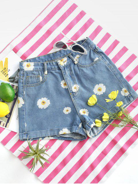 Cuffed Hem Daisy Print Denim Shorts - أزرق فاتح XS Mobile
