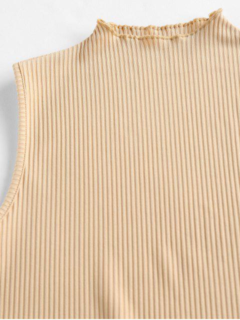 Canotta Aderente a Costine con Colletto a Lupetto di ZAFUL - marrone  M Mobile