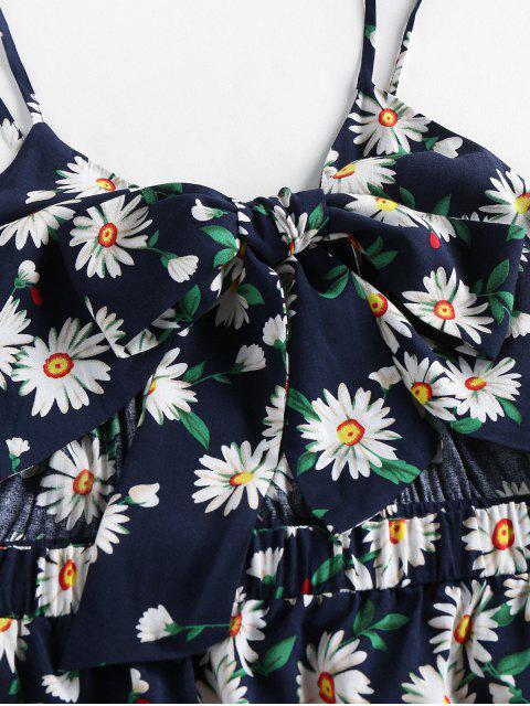 ZAFUL Mini Robe Découpée Marguerite ImpriméeavecNœudPapillon - Cadetblue S Mobile