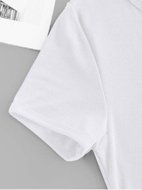 Kurzärmliges T-Shirt mit Schmetterlingsdruck - Weiß S Mobile