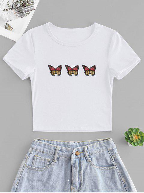 ladies Butterfly Print Short Sleeve Crop T-shirt - WHITE M Mobile