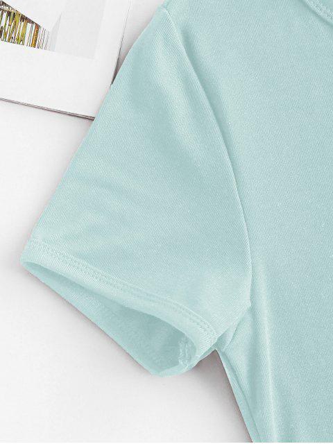 online Butterfly Print Short Sleeve Crop T-shirt - LIGHT GREEN M Mobile