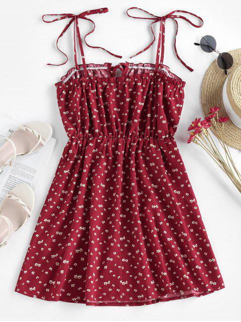 outfit ZAFUL Tie Ditsy Print Sundress - RED S Mobile