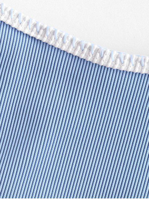 womens ZAFUL Whip Stitching Ribbed Bikini Bottom - LIGHT BLUE M Mobile