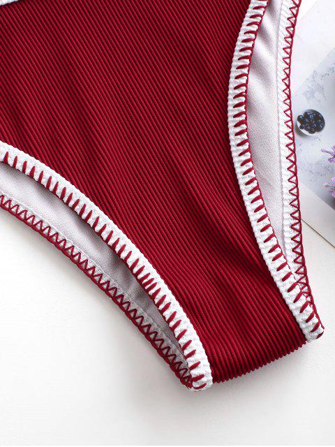 buy ZAFUL Whip Stitching Ribbed Bikini Bottom - LAVA RED S Mobile