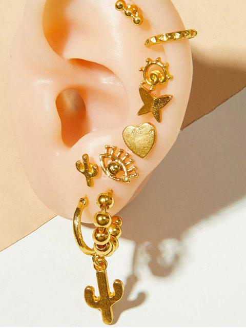 trendy Evil Eye Cactus Butterfly Stud And Ear Cuff Earring Set - GOLD  Mobile