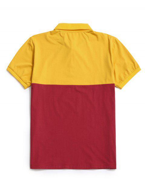 Colorblock Panel Turn-down Collar T-shirt - الأصفر S Mobile
