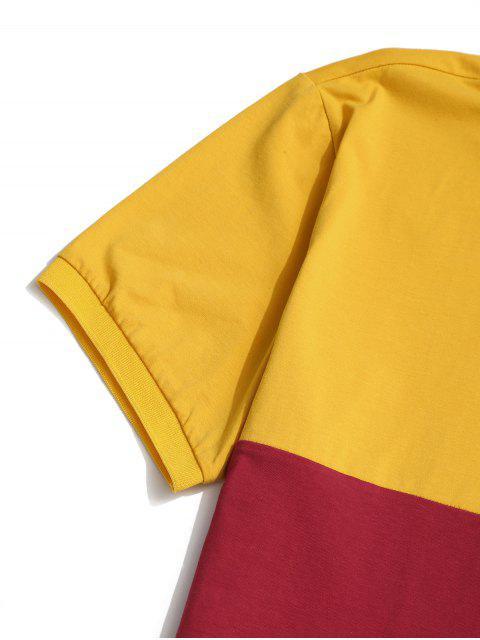 T-Shirt a Contrasto con Maniche Lunghe - Giallo S Mobile
