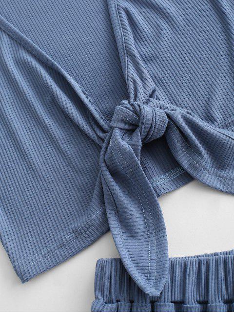 Gerippte Krawatte Abgeschnittenes Zweiteiler Set - Blaue Koifisch XL Mobile