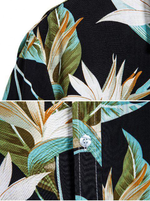 hot Flower Print Button Up Slim Hawaii Shirt - BLACK 3XL Mobile