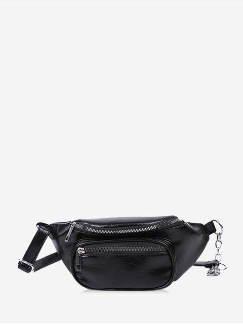 online Pure Color Zip Pockets Chest Bag - BLACK  Mobile