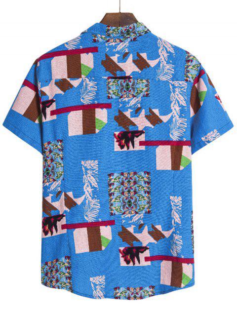 shop Irregular Geo Print Ethnic Button Up Short Sleeve Shirt - MULTI-B XL Mobile