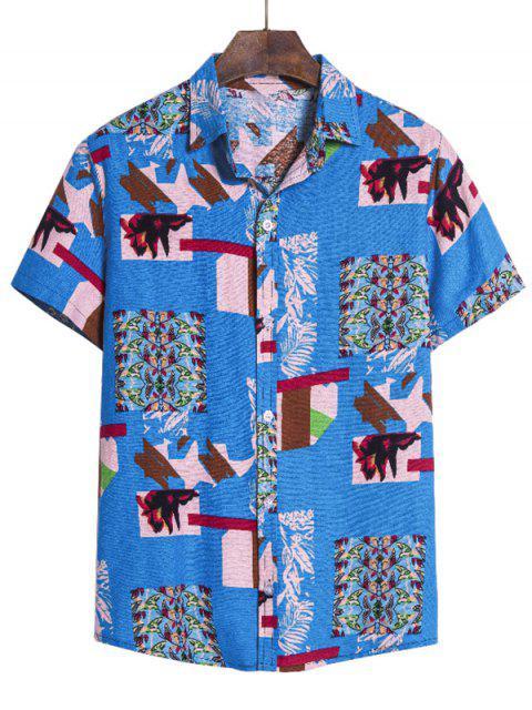 outfit Irregular Geo Print Ethnic Button Up Short Sleeve Shirt - MULTI-B M Mobile