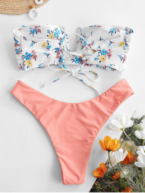 ZAFUL Bandeau Bikini Badebekleidung mit Rüschen und V Draht - Leichter Salm S Mobile