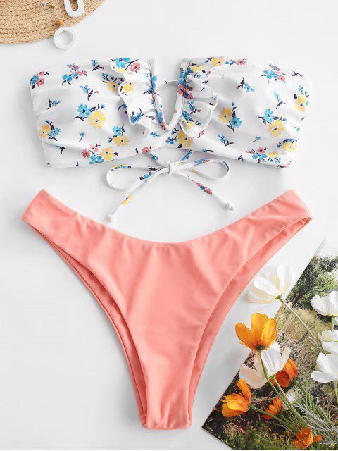ZAFUL Maillot de Bain Bikini Bandeau Fleuri Imprimé à Armature V à Volants - Saumon Léger M Mobile