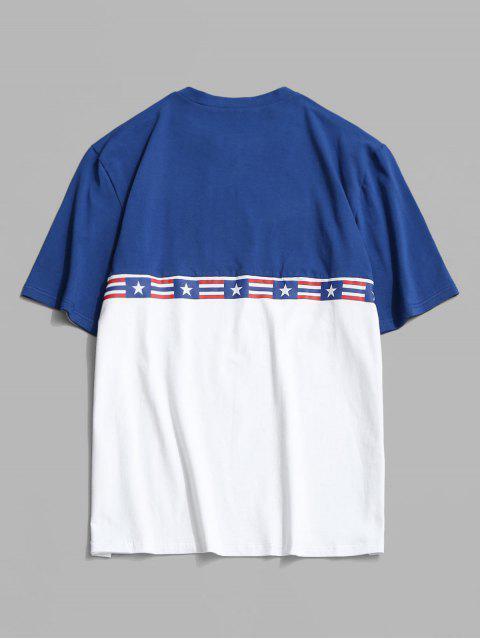Maglietta a Blocchi di Colori con Stampa a Bandiera Americana - Bianca M Mobile