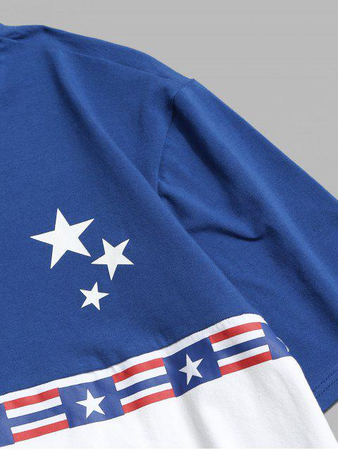 Maglietta a Blocchi di Colori con Stampa a Bandiera Americana - Bianca L Mobile