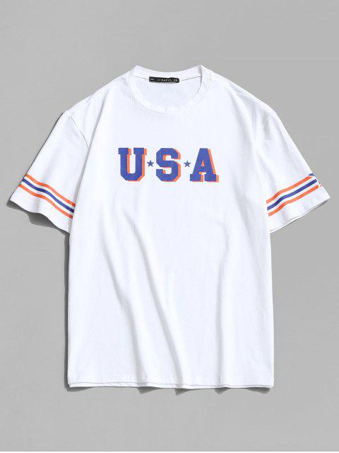 USA Star and Striped Print Basic T-shirt - أبيض 2XL Mobile