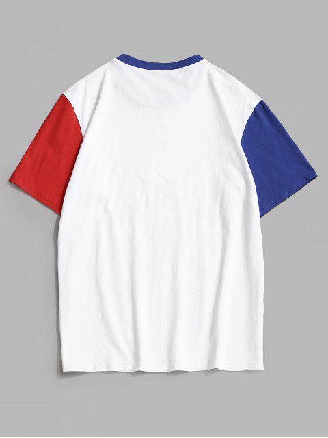ladies Striped Star Colorblock Panel T-shirt - WHITE XL Mobile