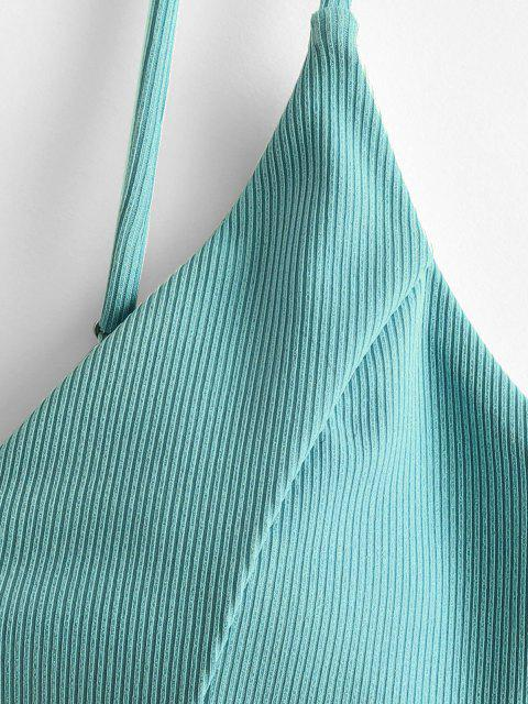 shop ZAFUL Ribbed Cropped Bikini Top - LIGHT GREEN S Mobile