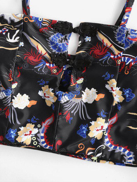 ZAFUL Maillot de Bain Tankini Fleuri DragonOrientalImprimé à Taille Haute avec Bouton - Noir XL Mobile
