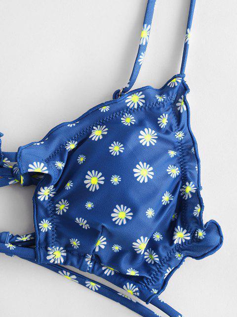 sale ZAFUL Lettuce Trim Daisy Print String Bikini Swimwear - OCEAN BLUE S Mobile